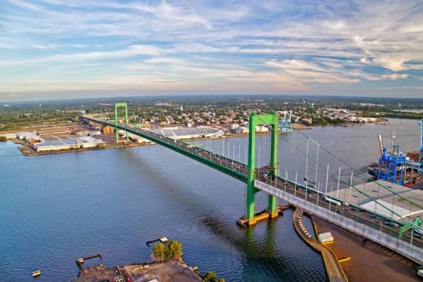 Aerial View of Walt Whitman Bridge Philadelphia stock photo