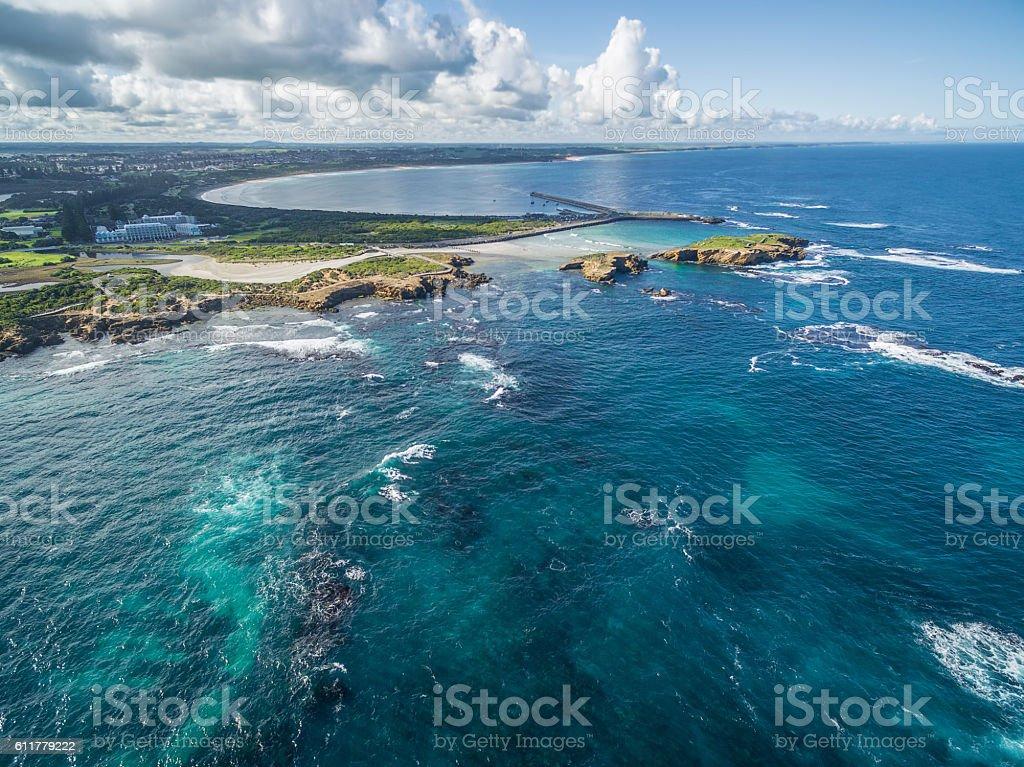 Aerial view of Warrnambool coastline, Australia stock photo
