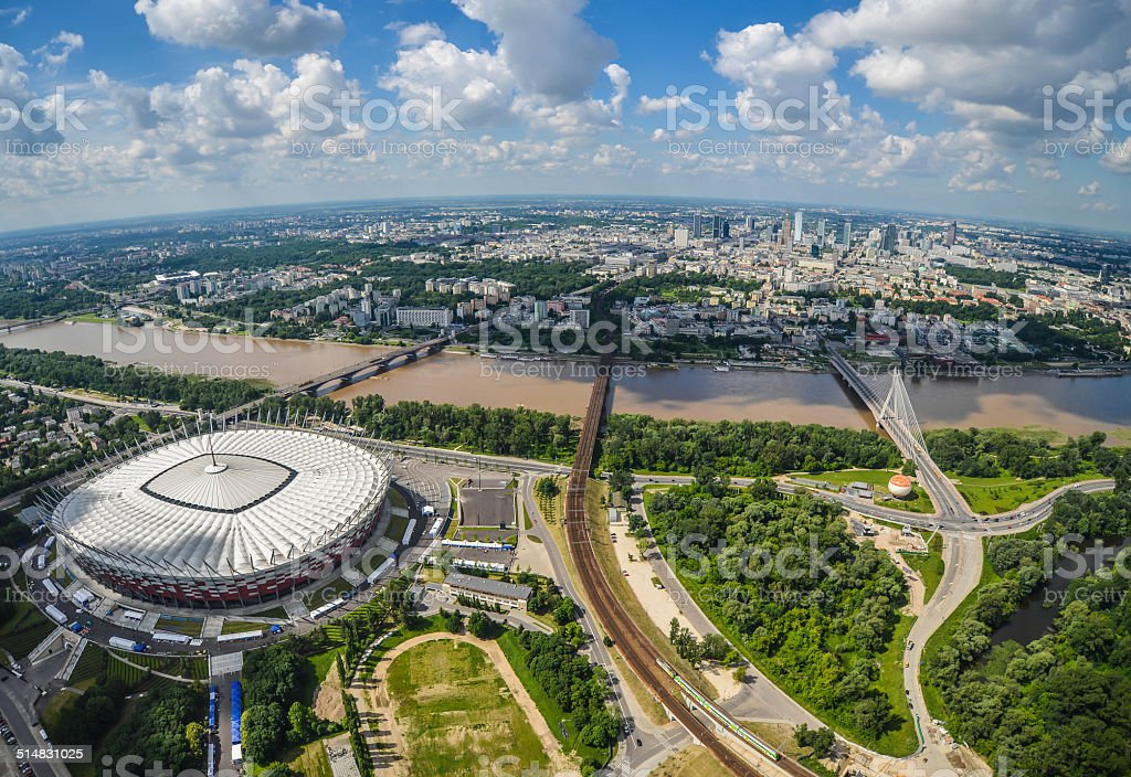 Aerial view of Warsaw, Poland stock photo