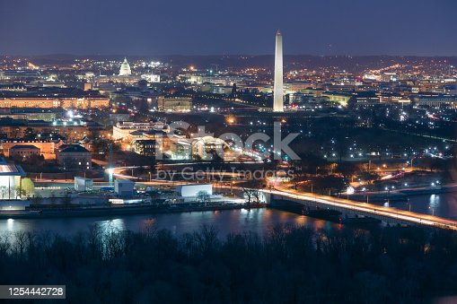 Illuminated Washington DC at night with the Washington Monument and the US Capitol and the Potomac River in the foreground