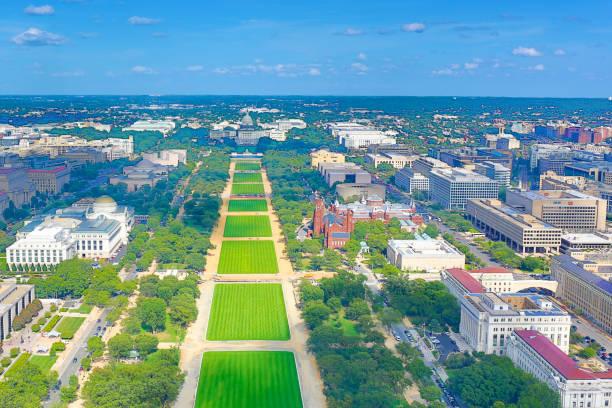 Aerial View of Washington DC stock photo