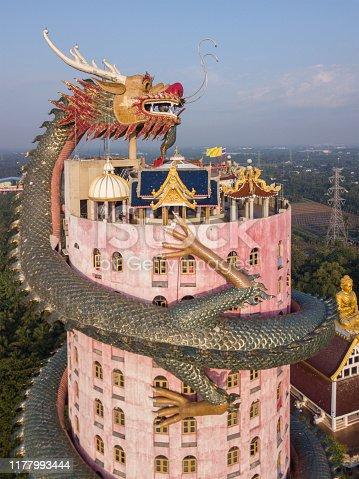 Aerial view of Wat Samphran, Dragon Temple in the Sam Phran District in Nakhon Pathom province near Bangkok, Thailand.