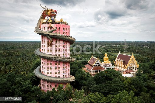 Aerial view of Wat Samphran Dragon Temple in the Sam Phran District in Nakhon Pathom province near Bangkok, Thailand.