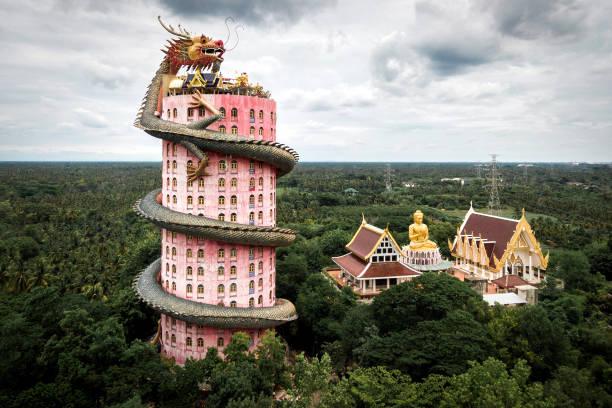 Luftaufnahme des Wat Samphran Drachentempels in der Nähe von Bangkok, Thailand – Foto
