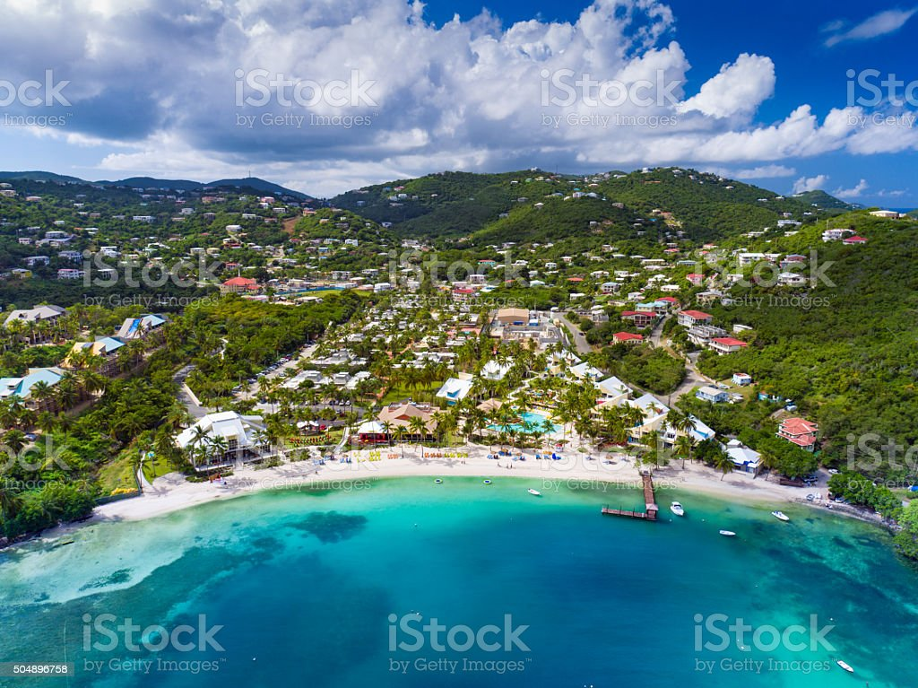 aerial view of Water Bay, St.Thomas, US Virgin Islands stock photo