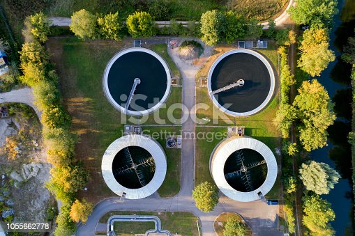 Aerial view of a sewage treatment plant, Bavaria, Germany
