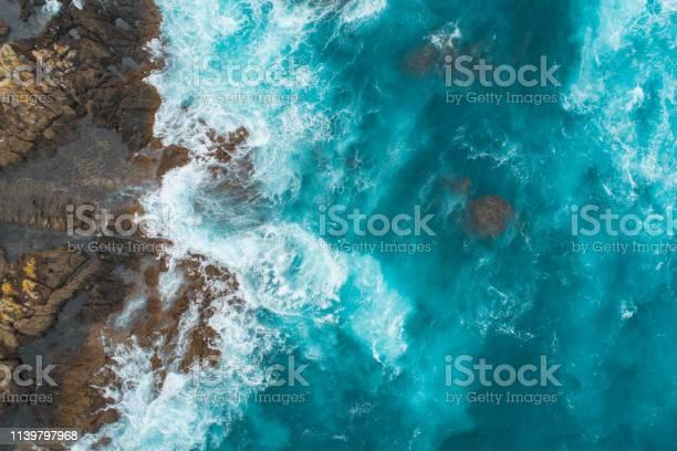 Photo of Aerial view of waves splashing on beach.