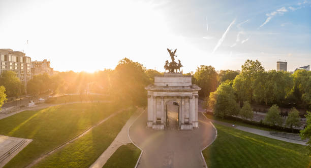 Aerial view of Wellington arch in London stock photo