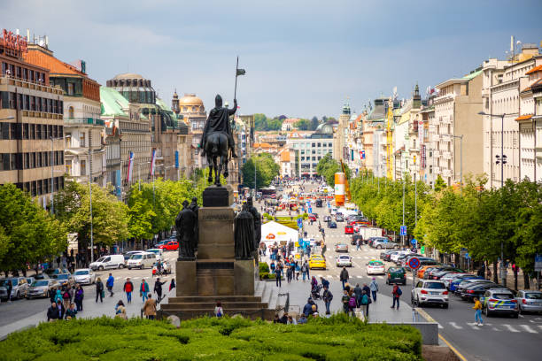 Aerial view of Wenceslas Square Prague, Czech Republic - May 6, 2019: Aerial view of Wenceslas Square wenceslas square stock pictures, royalty-free photos & images