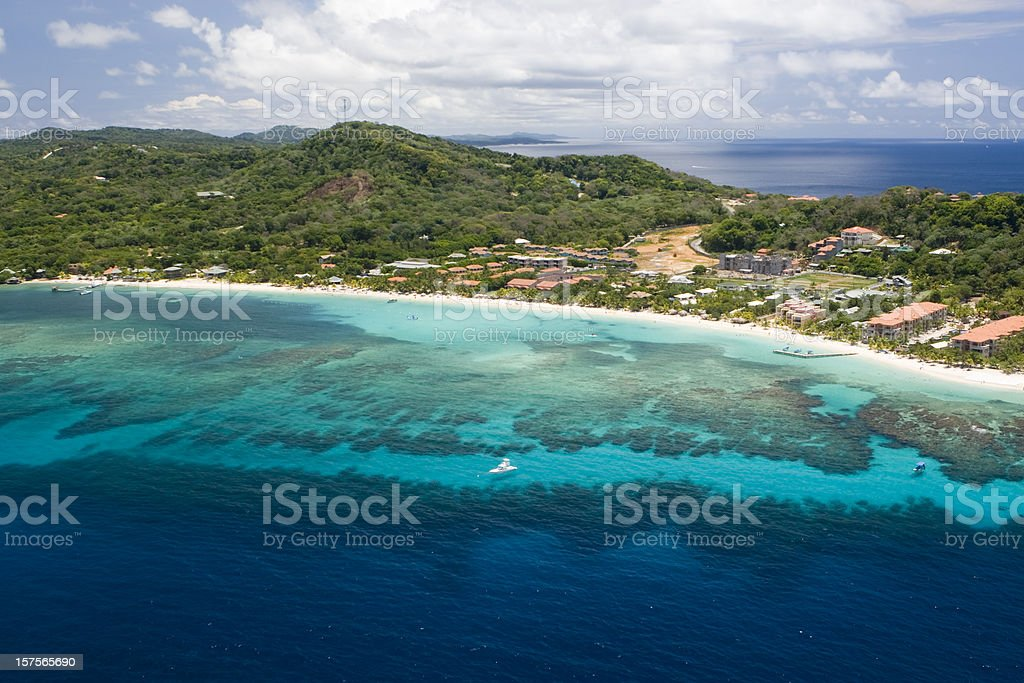 Aerial view of West Bay Beach stock photo