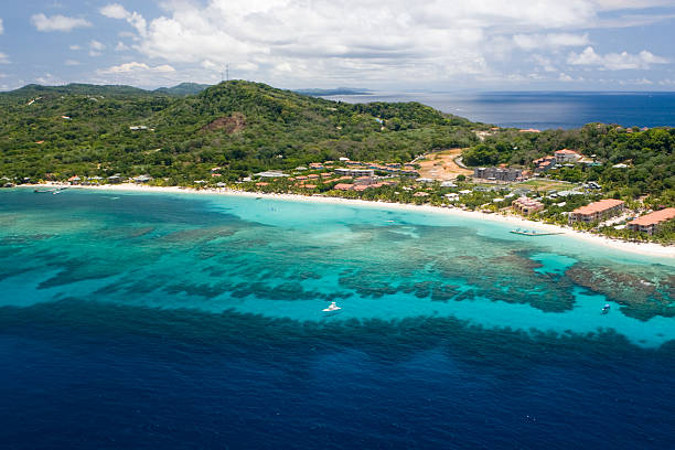 Aerial view of West Bay Beach  honduras stock pictures, royalty-free photos & images