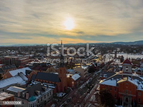 istock Aerial view of West Church St Frederick, Maryland. February 21st, 2021 1305532006
