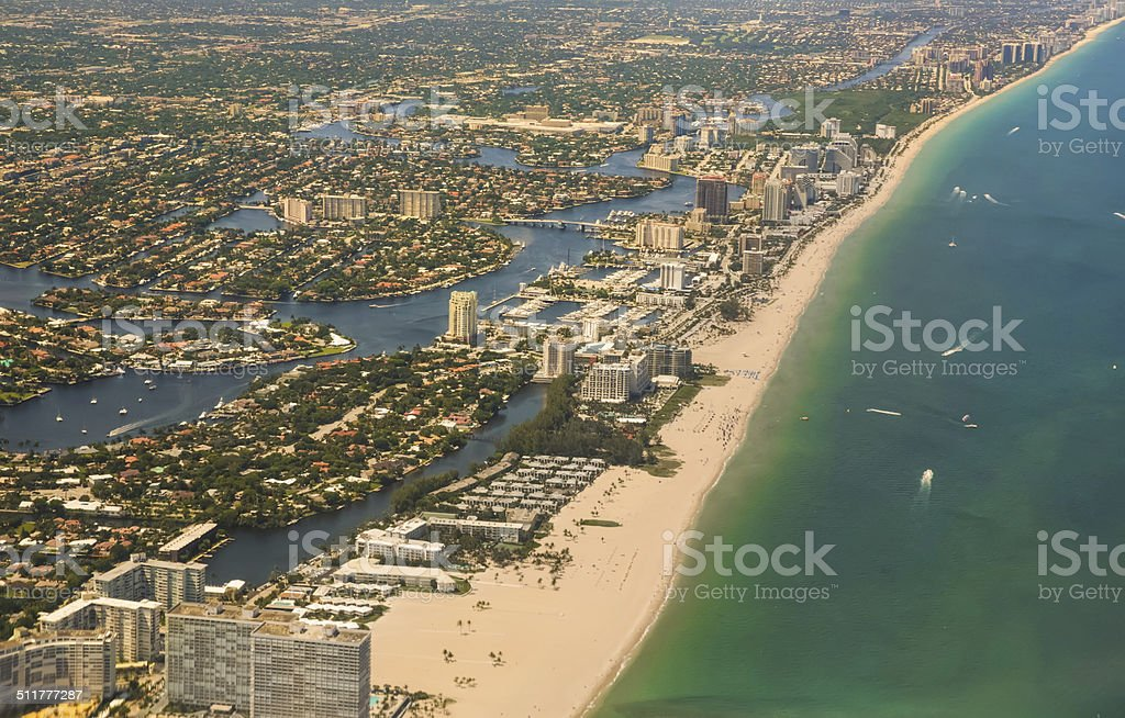 Aerial view of West Palm Beach and Atlantic Ocean stock photo