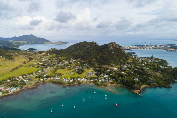 Aerial view of Whangarei Heads, North Island, New Zealand. stock photo
