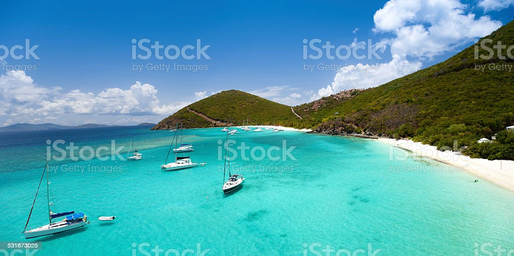 aerial view of White Bay Beach, Jost Van Dyke, BVI stock photo