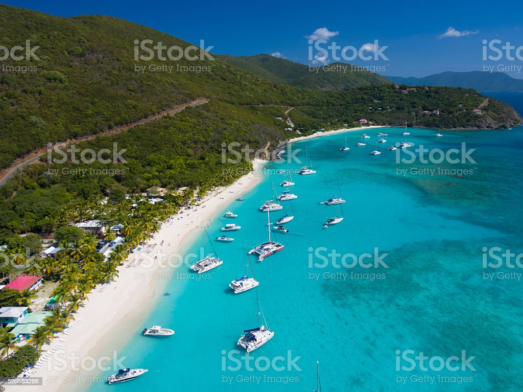 Aerial View of White Bay, Jost Van Dyke, BVI stock photo