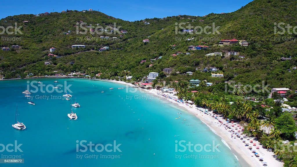 Aerial View of White Bay, Jost Van Dyke stock photo