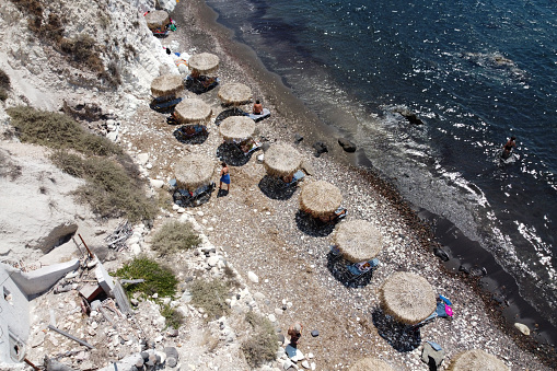 Aerial view of white beach in the island of Santorini, Greece on Aug. 14, 2020.