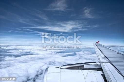 istock aerial view of white cloud and blue sky from plane window 877043486