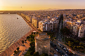 istock Aerial view  of White tower and Thessaloniki center 1257211738