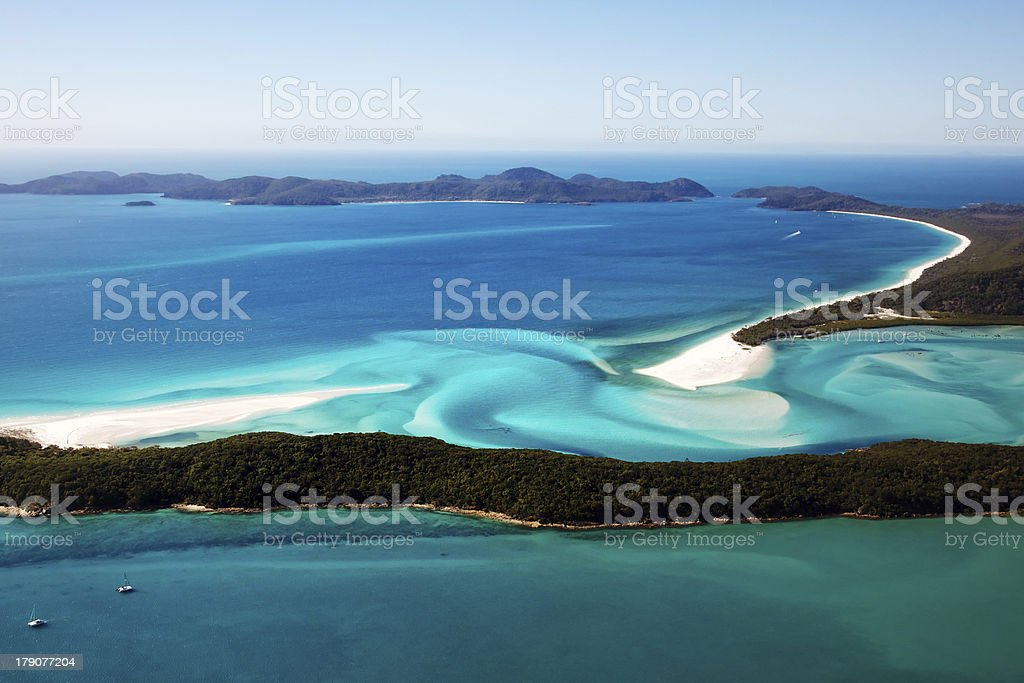 Aerial view of Whitehaven beach in Whitsunday islands stock photo