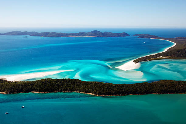 aerial view of whitehaven beach in whitsunday islands - great barrier reef stock pictures, royalty-free photos & images