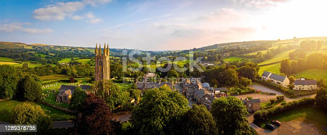 istock Aerial view of Widecombe in the Moor, a village and large civil parish on Dartmoor National Park in Devon 1289378735