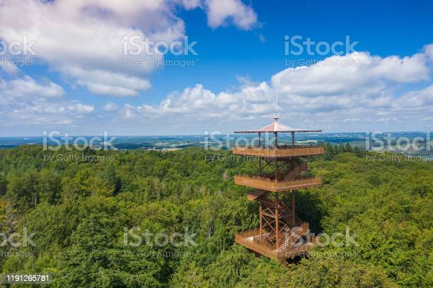 Photo of Aerial view of Wiezyca. Observation Tower. Kashubian Landscape Park. Kaszuby. Poland. Photo made by drone from above. Bird eye view.