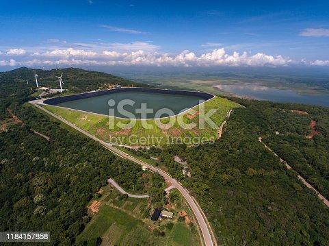 Aerial view of Wind Turbine on mountain at Lamtakong dam, Nakhonratchasima, Thailand.