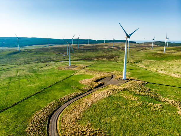 Aerial view of wind turbines generating power, located in Connemara region, County Galway, Ireland stock photo