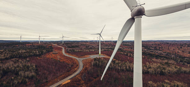 Aerial View of Wind Turbines stock photo