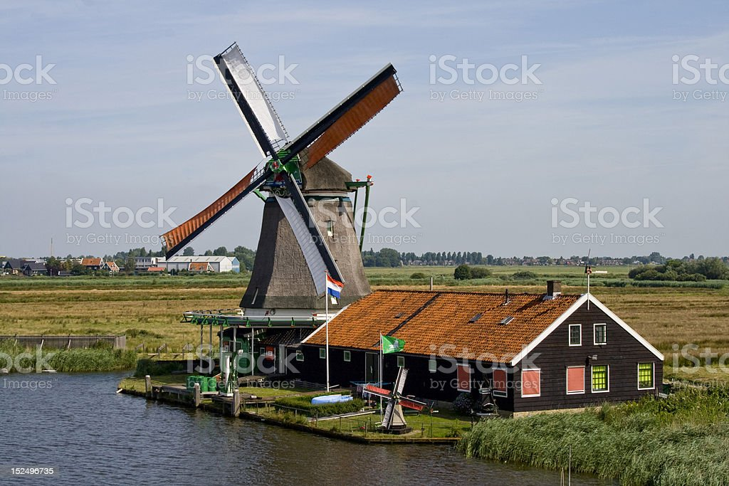 Aerial view of windmill in Zaanse Schans royalty-free stock photo