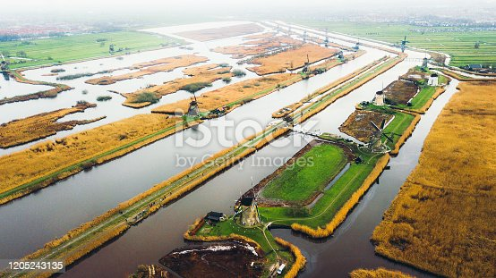 Drone panoramic photo of beautiful old windmills staying on the field with river and canals in Netherlands