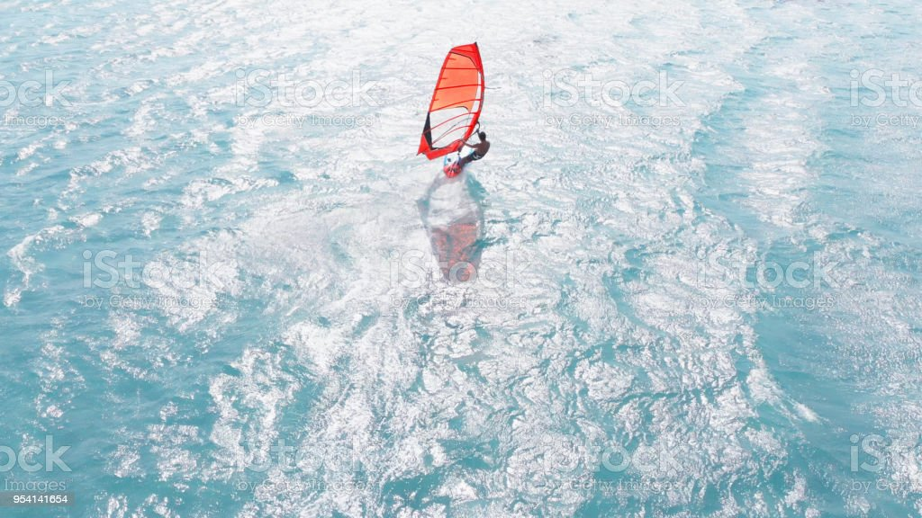 Aerial View of Windsurfing stock photo