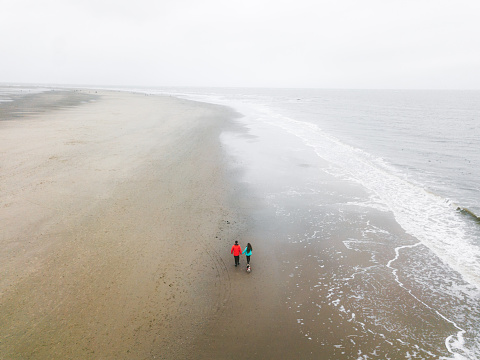 Aerial view of woman, man and dog walking at the beach in Netherlands