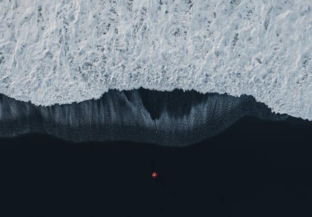Aerial view of woman on black sand beach in iceland picture id1073216440?b=1&k=6&m=1073216440&s=612x612&w=0&h=pggznvwz2mbdoh0vpygdqxjhnddbwkkpj3zivr5tkau=