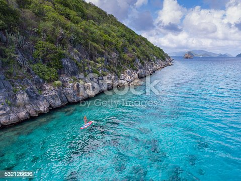 544966382istockphoto Aerial view of woman on paddleboard 532126636