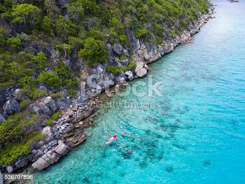 544966382istockphoto Aerial view of woman on paddleboard 536707896