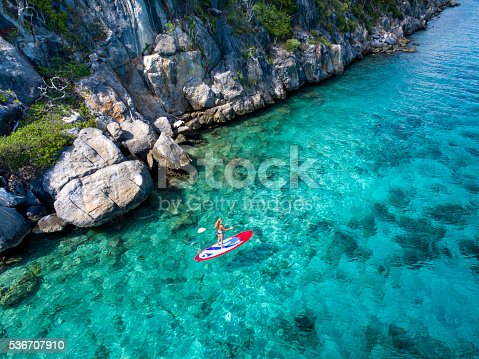 544966382istockphoto Aerial view of woman on paddleboard 536707910