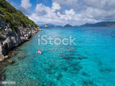 544966382istockphoto Aerial view of woman on paddleboard 536707914
