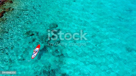 544966382istockphoto Aerial view of woman on paddleboard 544966330