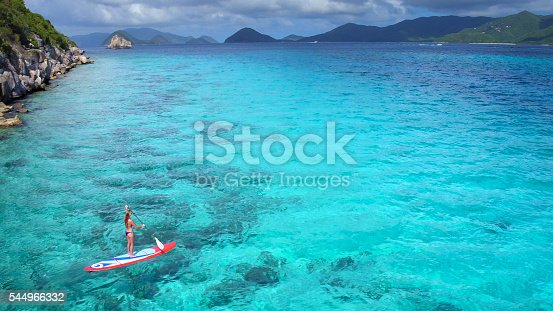 544966382istockphoto Aerial view of woman on paddleboard 544966332