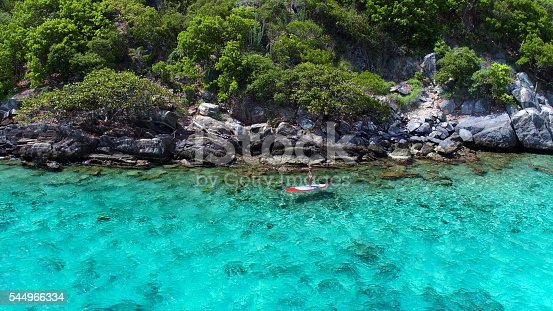 544966382istockphoto Aerial view of woman on paddleboard 544966334