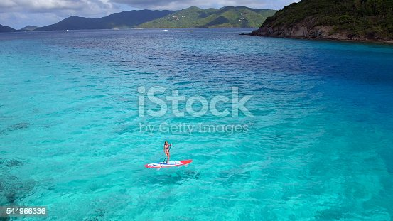 544966382istockphoto Aerial view of woman on paddleboard 544966336