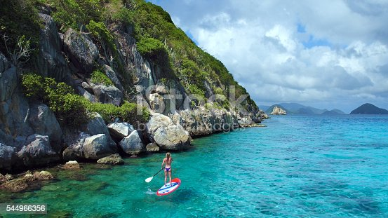544966382istockphoto Aerial view of woman on paddleboard 544966356
