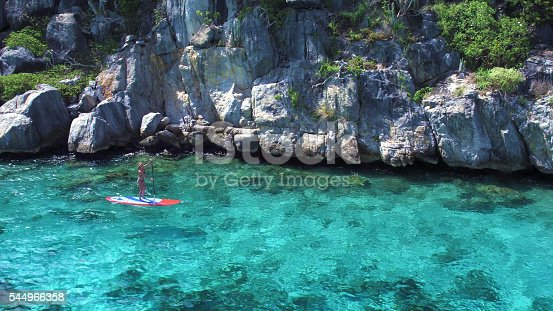 544966382istockphoto Aerial view of woman on paddleboard 544966358