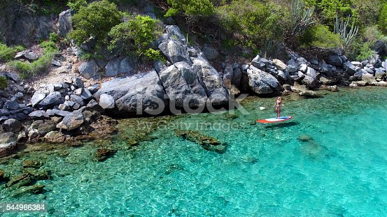 544966382istockphoto Aerial view of woman on paddleboard 544966364
