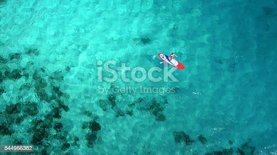 istock Aerial view of woman on paddleboard 544966382