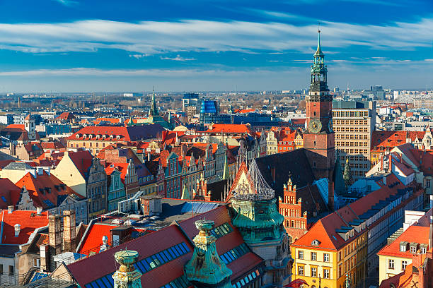 Aerial view of Wroclaw in the morning stock photo