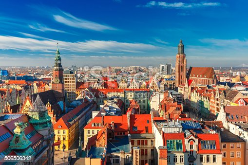 istock Aerial view of Wroclaw in the morning 506506342